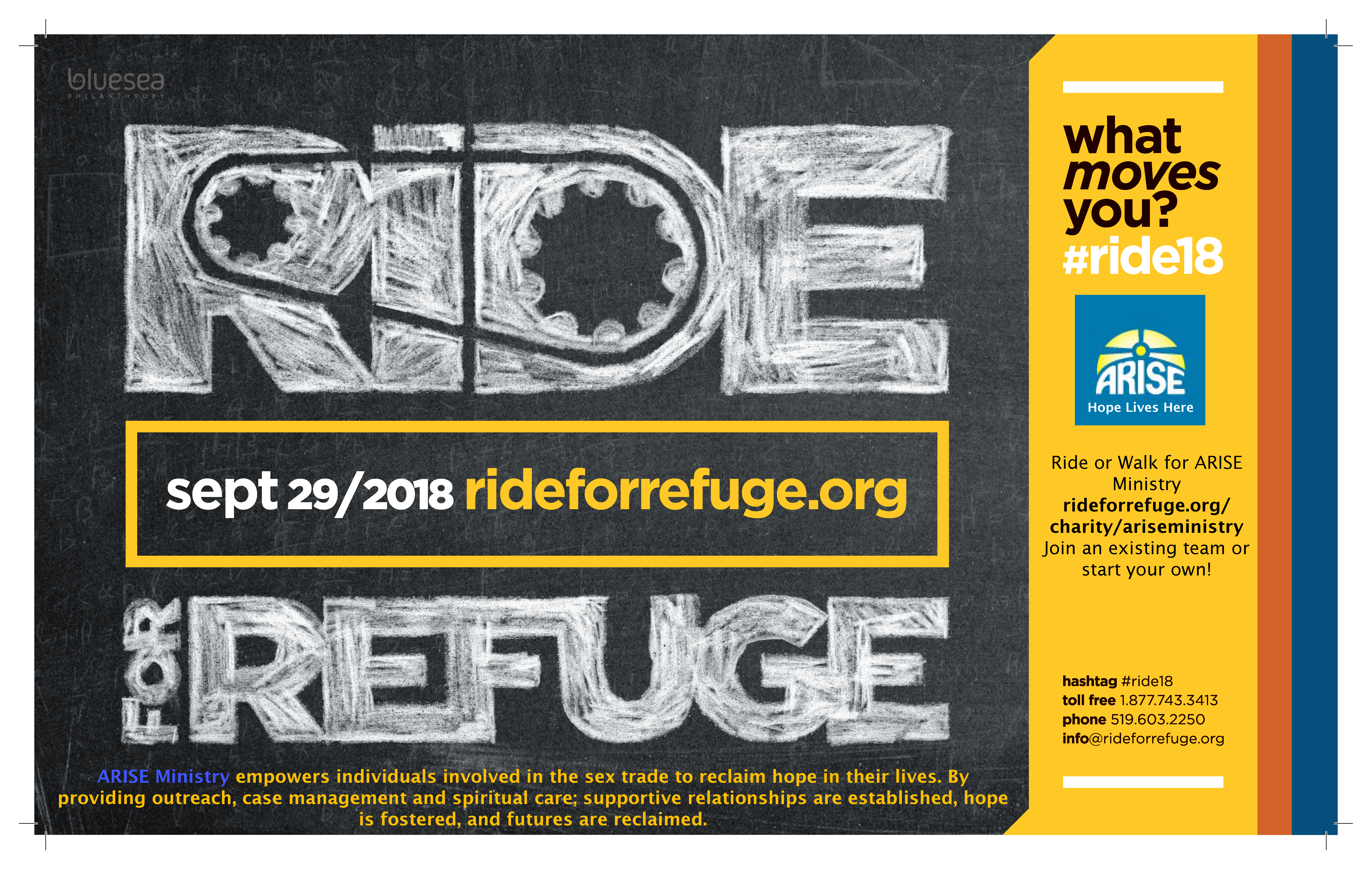Ride for Refuge (or Walk) on Saturday, September 29th 2018